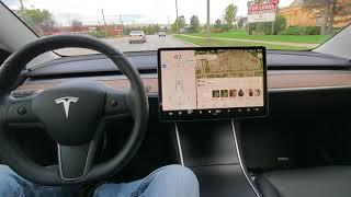 Tesla model 3 Auto steer on busy city street