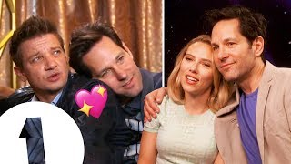 """Rudder!"" Scarlett Johansson reacts to Paul Rudd and Jeremy Renner's Avengers: Endgame Bromance."