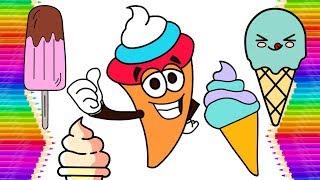 Coloring Drawing Yummy Ice Creams