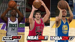 Hitting A 3 Pt With The BEST Shooter In EVERY NBA 2K Game! (NBA 2K - NBA 2K20)