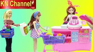 Đồ chơi trẻ em BÚP BÊ BARBIE ĐI SIÊU THỊ CÓ MÁY TÍNH TIỀN MICRO Cash register Supermarket