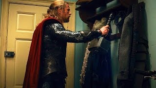 Thor Hangs His Hammer On Coat Rack (Scene) Thor: The Dark World (2013) Movie CLIP HD