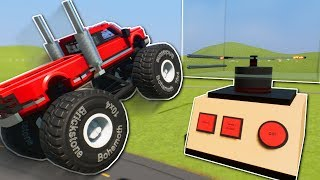 MONSTER TRUCK JUMPS INTO BLENDER! - Brick Rigs Multiplayer Gameplay - Lego Stunts & Jumps