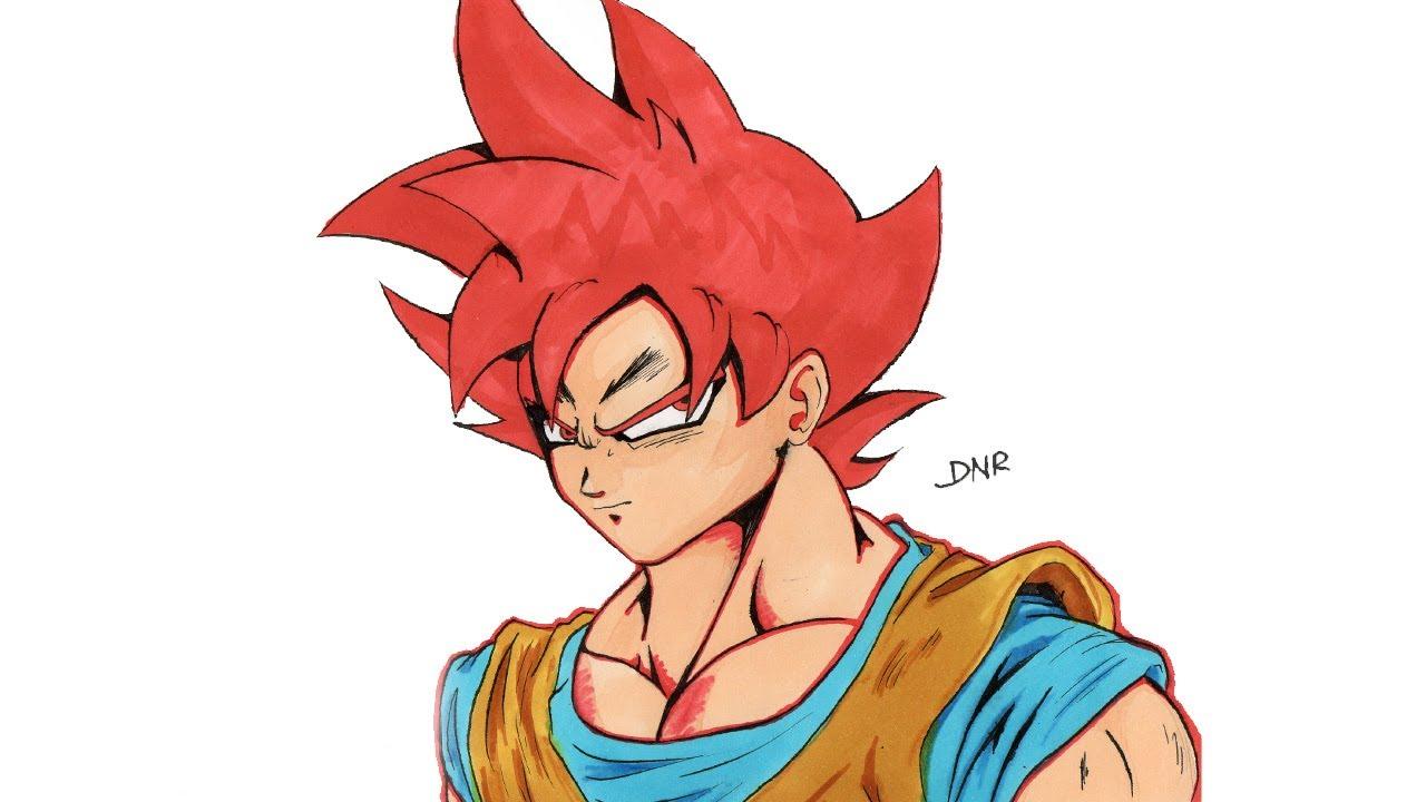 Dibujo De Goku Super Sayayin Dios Fase 5 Pintado Por En: Como Dibujar A Goku SSJ DIOS (ROJO)/ How To Draw Goku Ssj