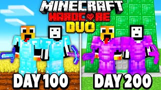 We Survived 200 Days In Hardcore Minecraft - DUO 100 days minecraft hardcore