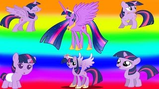 My Little Pony Transforms - Princess Twilight Baby Teen Alicorn - MLP Coloring Videos For Kids