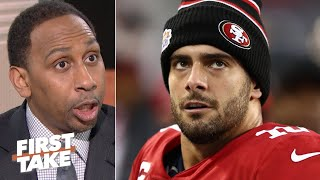 Stephen A. doesn't give Jimmy Garoppolo props for beating that 'baad' man Aaron Rodgers | First Take
