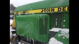 John Deere 400 Snow Thrower Clearing Large Property vs Winter Storm Harper