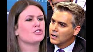 Sarah 'Huckabee' Sanders FURIOUSLY responds to CNN Jim Acosta on Trump Media Stories