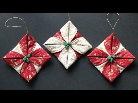 Folded Fabric Ornaments Youtube