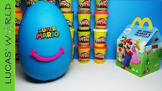 Giant SUPER MARIO Happy Meal PLAY DOH Surprise Egg with ALL EUROPEAN Toys & Figures EDITION 2