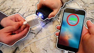 EXPERIMENT TASER VS IPHONE CHARGER! (WILL IT CHARGE?)