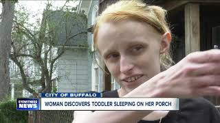 Toddler boy found sleeping on stranger's porch