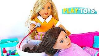 Baby Doll Hair Cut Shop! Play American Girl Doll Spa & Hair Style Salon Toys !