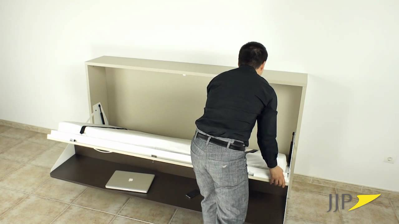 Cama abatible horizontal con mesa youtube - Mecanismo para camas abatibles ...