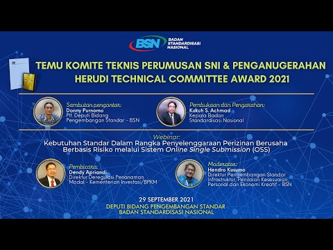 https://youtu.be/W1JsgNwA4VQTemu Komite Teknis Perumusan SNI dan Penganugerahan Herudi Technical Committee Award 2021