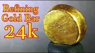 How to refining gold scrap into pure gold bar 24k | Make aqua regia process at home