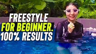 Beginner girl learn to swim Freestyle step by step