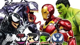 Venoms & Thanos vs Avengers Battle! Go~! Thor, Hulk, Spider-man,  Iron Man, Captain America