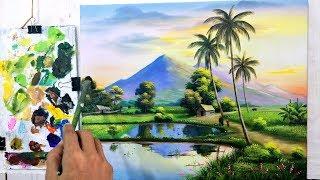 Dạy Vẽ Tranh Phong Cảnh Đồng Quê Bài 6, p3. ( Học vẽ miễn phí). Painting teaching for free
