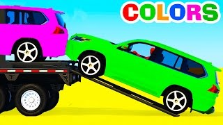 Colors SUV Cars Transportation - Learn Numbers with Superhero & Colors for Kids Educational Video