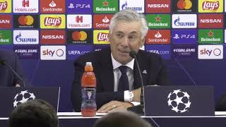 Champions League, Napoli-Liverpool 2-0: Carlo Ancelotti in conferenza stampa post-partita