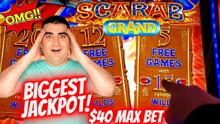 ✦LARGEST JACKPOT✦ On YouTube For SCARAB GRAND Slot Machine | All Aboard Slot BIG HANDPAY JACKPOT