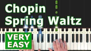 Chopin - Spring Waltz (Mariage d'Amour) - VERY EASY Piano Tutorial - (Synthesia)