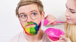 Dying My Brothers Beard Rainbow *BAD IDEA turned good?!*..Brad Mondo pls don't watch this !!