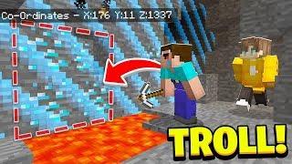 DIAMONDS Outside THE WORLD *TROLL* (Camp Minecraft)