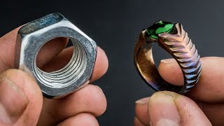 Turned a Hex Nut into BEAUTIFUL Ring- Using Only Hand Tools