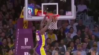 Lanzo ball half court alley oop to Randle | warriors vs lakers /29/2017