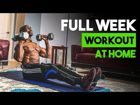 FULL WEEK Workout PLAN For MUSCLE GAIN At HOME With DUMBBELLS