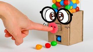 Press & Play DIY Gumball Machine from Cardboard