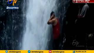 Somalamma waterfalls attracting people in Charla Mandal, B..