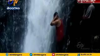 Somalamma waterfalls attracting people in Charla Mandal, B..
