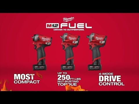 Milwaukee M12FIWF12-622X 12v Cordless 1/2 Impact Wrench Kit 2 Batteries