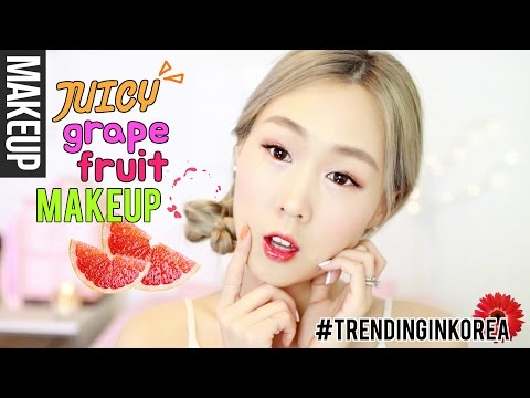 Fun Korean Makeup! Grapefruit Inspired Look & Hair (+Skincare Tips) 🍇🍉🍓 상큼한 자몽 메이크업 + 헤어! [한글자막]
