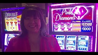 HAND PAY! PINK DIAMONDS SLOT MACHINE-LIVE PLAY!