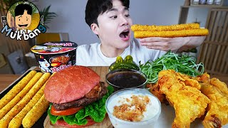 ASMR MUKBANG 햄버거 & 치즈 스틱 & 치킨먹방! HAMBURGER & FRIED CHICKEN & CHEESE STICK EATING SOUND!