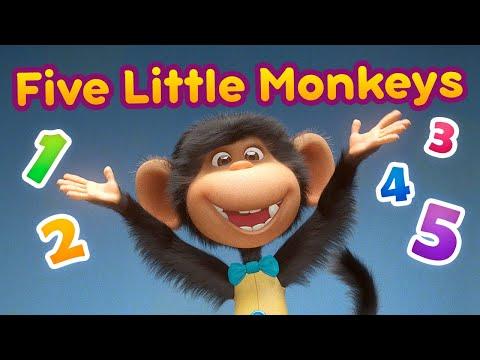 Máša a Medveď - Pesnička - Five Little Monkeys