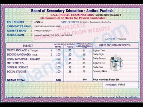 Board Of Secondary Education Andhra Pradesh Ssc Memo how to download 41th class duplicate mark memo ManaPC 13