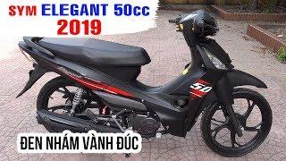 SYM Elegant 50cc 2019 Đen Nhám Vành Đúc ▶ Đánh giá chi tiết