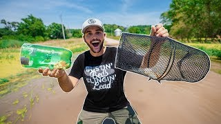 $1 HOMEMADE Minnow Trap VS Store Bought!!! (CAUGHT A SNAKE)