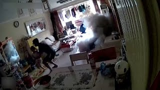 Caught on cam: Electric scooter explodes during charging a..