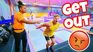 KICKED OUT OF THE TRAMPOLINE PARK FOR BREAKING RULES!