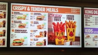 "Burger King ""Fiery""  menu board"