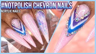 Pixie Pink Chevron and Marble Acrylic Nails | #notpolish | LongHairPrettyNails
