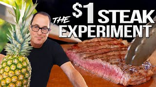 Can PINEAPPLE save a $1 steak? | SAM THE COOKING GUY 4K