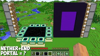 I can COMBINE BIGGEST NETHER and END PORTAL OF 1000 BLOCKS in Minecraft ! NETHER + END PORTAL = ????